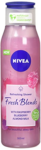 Nivea Fresh Blends Himbeere (300ml), Himbeer-Duft Umweltfreundliches Duschgel, fruchtiges Duschgel für Frauen, veganes Duschgel mit Blaubeer- und Mandelmilch