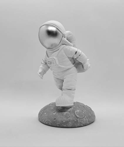 GRAY909 Room Decor Resin Astronaut Figurine Home Decor Spaceman Statue Kids Bedroom Decor Astronaut Toys Outer Space Themed bookend Holder Astronaut Figure (Holder Silver)