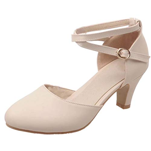 LUXMAX Damen Kitten Heels Pumps mit Knöchelriemen 5cm Kleinem Absatz Schuhe(Beige 37)