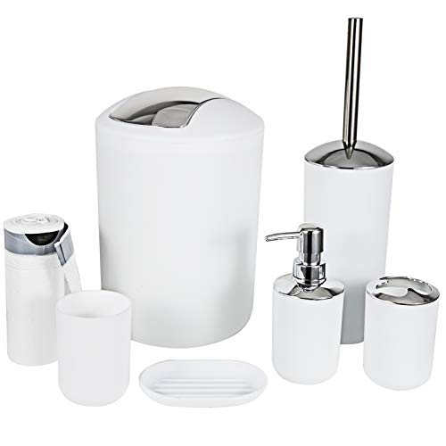 MIKOSI 6 Piece Bathroom Accessories Sets,Bathroom Set 6 Pieces Plastic Lotion Dispenser,Toothbrush Holder,Bathroom Tumblers,Soap Dish,Trash Can,Toilet Brush Set with Drawstring Trash Bags (White)