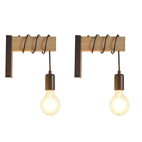 YANSW Lámpara de pared Aplique de pared Aplique de pared, Hierro de madera industrial Personalidad creativa Polea de elevación E27 Zócalo para sala de estar Cocina Pasillo Escaleras Bar Interior,C,2