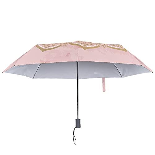 Menta Mandalas paraguas de lluvia abierto y cerrado, europeo resistente al viento y al agua con sombrilla