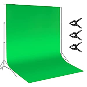 Neewer 9 x 15 feet/3 x 5 Meters Green Chromakey Muslin Backdrop Background Screen with 3 Clamps for Photo Video Studio Photography
