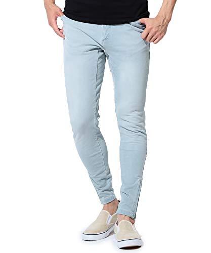 JIGGYS SHOP スウェットデニムパンツ メンズ ジョガー パンツ 裾ジップ スリム 細身 スキニー サイドライン M ブリーチ