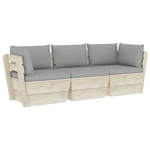 vidaXL Impregnated Spruce Wood Sectional Pallet Corner Sofa Outdoor Seating Furniture Modular Sofa Unit Wooden Garden Corner Chair Seat