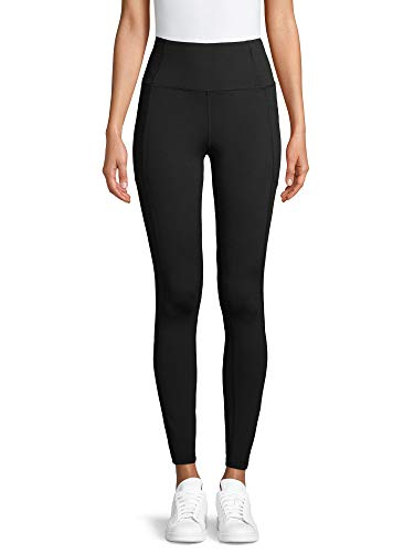 Avia Activewear Women's High Waist Ankle Tights with Side Pockets (Large 12/14, Black)