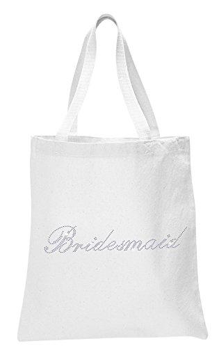 White Bridesmaid White Crystal Bride Tote bag wedding party gift bag Cotton
