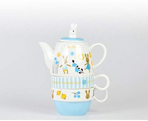 Tetera Teteras 3 piezas Trajes Tetera de cerámica Tetera de dibujos animados lindo creativo Juego de té de la tarde tazas conejo