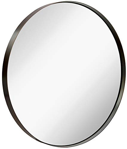 Hamilton Hills Contemporary Brushed Metal Bronze Wall Mirror | Glass Panel Bronze -