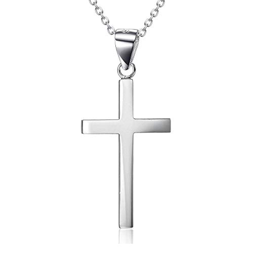 LUHE Small Cross Necklace Sterling Silver White Gold Plated Father Daughter Necklace for Men Women