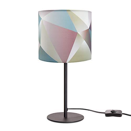 Paco Home Lámpara LED De Mesa E14, Para Salón Y Dormitorio, Colores Pastel, Decoración, Base de la lámpara:Negro, Pantalla de lámpara:Colorido (Ø18 cm)