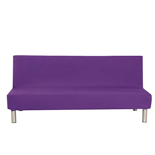 Solid Colour Armless Sofa Bed Cover Polyester Spandex Stretch Futon Slipcover Protector 3 Seater Elastic Full Folding Couch Sofa Shield fits Folding Sofa Bed without Armrests 80' x 50' in (Purple)