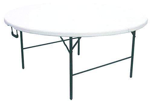 Cilvani Mesa redonda plegable XL de resina HDPE blanca 180 x 74...