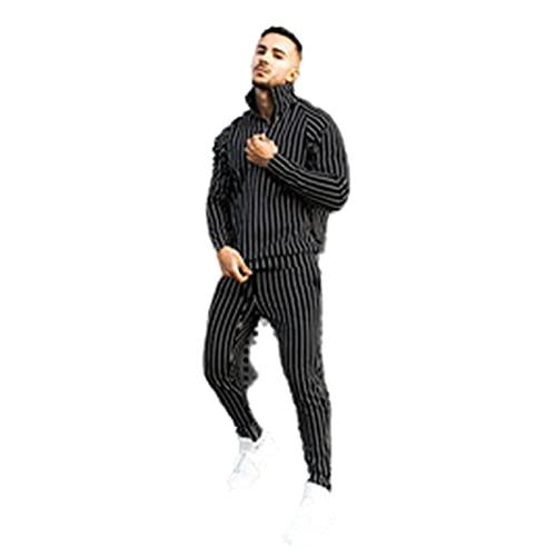 Chándales Entrenamiento Trajes de Ropa Deportiva Tops Pantalones Hombre Rayas de Primavera y otoño Moda Casual Deportes Fitness suéter de Manga Larga Calle Delgada,Black,XXXL