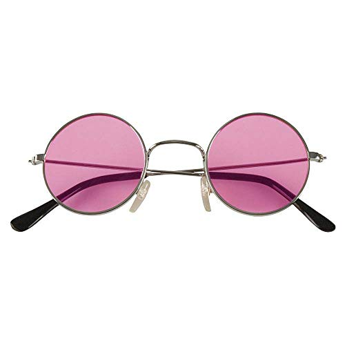 Boland 02592 - Partybrille John rosa, 1 Stück, Größe 12 x 4,5 cm, Metallgestell in silber, runde Brillengläser, Bügel aus schwarzem Kunststoff, John Lennon, Hippie, Musik, Legende, Flower Power