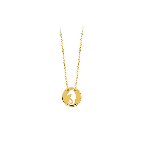 Mini disco de oro amarillo de 14 quilates con corte caballito de...