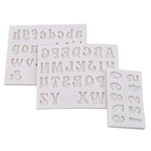 Myya 3 Piezas Mini Moldes De Resina De Letras - Molde De Fundición De Epoxi De Alfabeto De Números De Silicona Pequeño para Llavero DIY Pendiente De Joyería