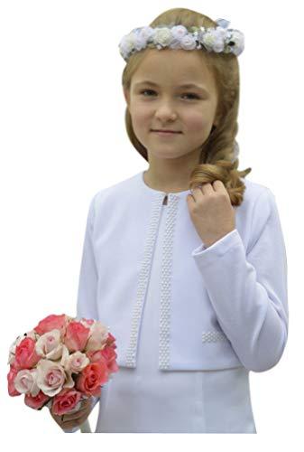 deine-Brautmode Kommunionjacke Jacke Kommunion Jäckchen Bolero mit Perlen, Bolero Sophie 134