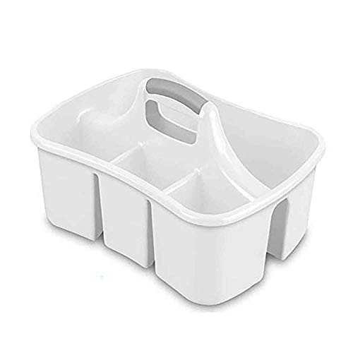 Bath Caddie White - Totes with Divided Compartments and Handles for...