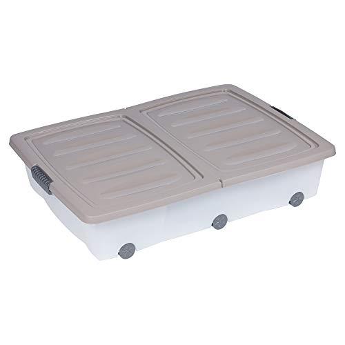 Lot de 2grandes boîtes de rangement de 55litres à roulettes en plastique avec couvercle pliant pour dessous de lit