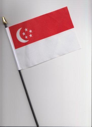 Handfahne / Handflagge, Singapur, 25cm