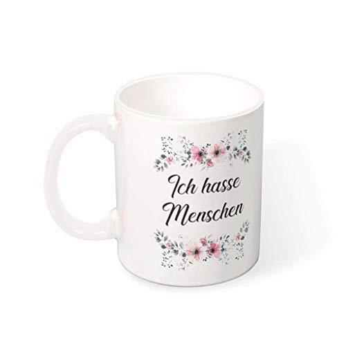 O4EC2-8 11 oz tch Hasse Menschen Blume Lustig Kaffeetasse Glatte Keramik Personalized Becher - Lustige Geschenke Freunde Geschenk (Beidseitig Bedrucken) White 330ml