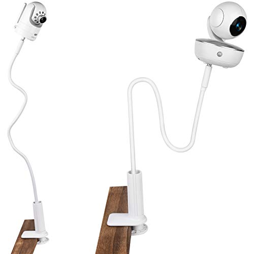 (Update Version) iTODOS Gooseneck Baby Monitor Mount for Arlo, Motorola Baby Monitor and Most Universal Monitors Camera, 27inch Length Stable and Durable Flexible gooseneck - White