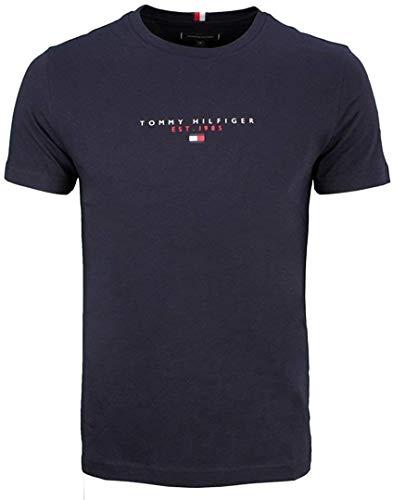Tommy Hilfiger Essential in Cotone con Logo Maglietta a Maniche Corte, Blu (Cielo del Deserto), L Uomo