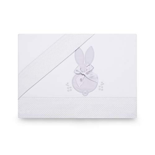 PEKITAS Juego Sabanas 3 Pcs Cuna 60x120 cm 100% Algodón Fabricado En Portugal Conejo Blanco