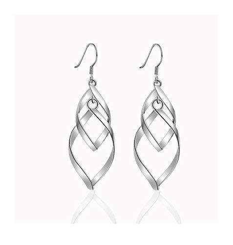 Xx101 Women's Earrings Damas De Doble Hoja Indian Silver Pendientes De Plata Clásicos Borla Larga Pendientes De Gota Trenzados Women's EarringsNixx0 (Color : Silver)
