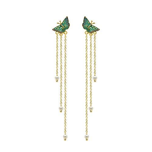 JCX Pendientes de joyería Borlas largas para Mujer Mostrar Cara Perlas de Agua Dulce Delgadas Pendientes de Mariposa Clips para el oído