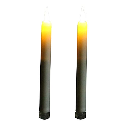Lot de 2 Crème sans flamme LED bougies coniques Ambre Flamme vacillante avec minuteur par PK Green