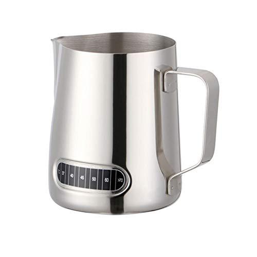 GOYOO Bricco per Latte,Acciaio Inossidabile Lattiera con Termometro Integrato di Controllo Temperatura, Milk Frothing Pitcher per caffè, Cappuccino, caffè Espresso, Latte Art