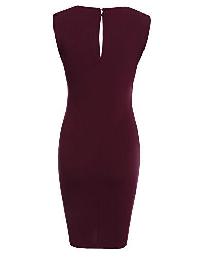 Damen Etuikleid V-Ausschnitt Wickelkleid Bleistiftkleid Ärmellos Knielang Bodycon Kleid Business Kleid mit Rüschen Weinrot - 3