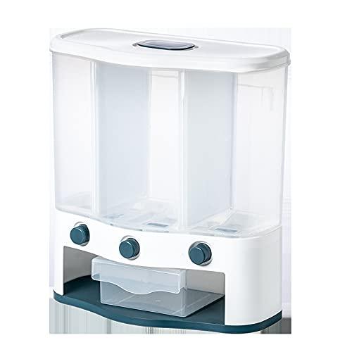 LZYMLG Dispensador de alimentos secos montado en la pared, cubo de arroz con múltiples compartimentos caja de almacenamiento de medición automática, contenedor de grano sellado para cocina
