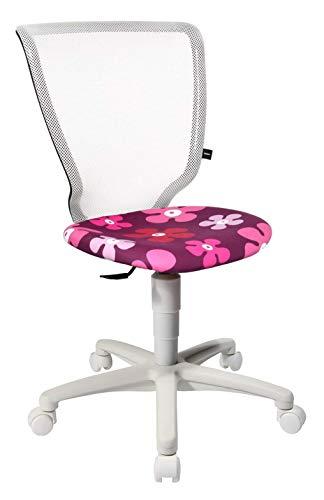 Topstar Kinderdrehstuhl Titan Junior - weiß - Sitzbezug Motiv Blumen lila