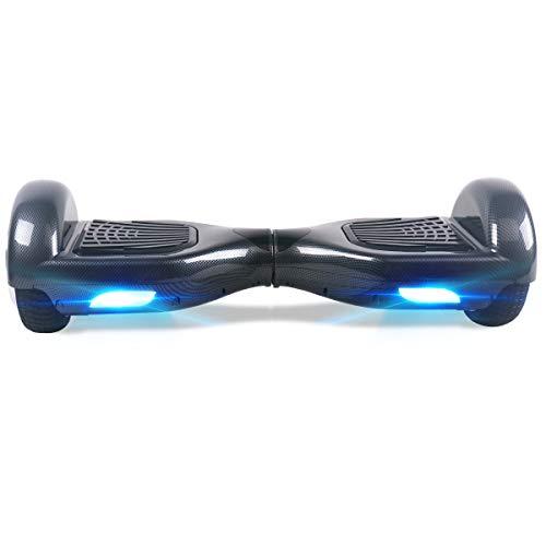"""TOEU - Patinete Eléctrico Hoverboard, Ruedas de 6.5"""", Leds, Potente batería de Litio, Bluetooth, Self Balancing, monopatín eléctrico Auto-Equilibrio (Carbon-Bluetooth)"""