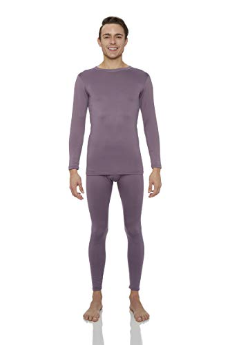 Rocky Thermal Underwear for Men Midweight Fleece Lined Thermals Men's Base Layer Long John Set (Plum - Midweight (Fleece) - Medium)