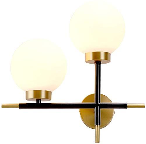 YUMUO Lámpara de pared minimalista de oro, moderna y creativa personalidad, para sala de estar, pared, cobre, dormitorio, lámpara de noche de cristal nórdico, 370 x 360 (tamaño: B)
