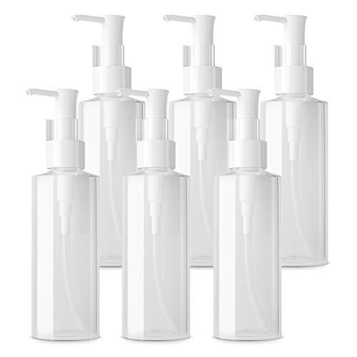 TIANZD 6 Piezas, Oval Botella Dosificador Vacías de 100ml Pet Translúcido con Clip, Dispensador de Botellas de Loción Simple para Jabón de Emulsión de Espuma, Gel de Ducha, Envase Cosmético