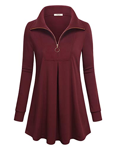 Timeson Womens Tunic Tops,Zip Up Thick Long Tunics Shirts To Wear With Leggings Cotton Loose Christmas Sweater for Work Ladies Long Sleeve Flowy Tops Knit Flare Winter Dressy MaternityShirt Wine