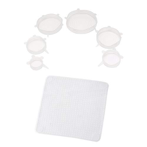 FLAMEER 10 Piezas de Silicona Tapa Elástica Cubierta de Sello de Cocina Reutilizable Apto para Microondas