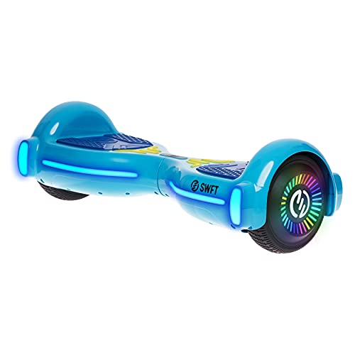 RIDE SWFT Hoverboard Self Balancing Electric Scooter, Bluetooth Speakers, 6.5  Light Up Rainbow Color Wheels,LED Board Lights, UL2272 Certified, Marine Blue