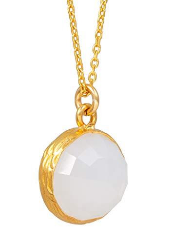 Sarah Bosman Damen Halskette Gold Plate Grey Moonstone - Kette Runde Platte eingefasster Hellgrauer Edelstein Silber vergoldet - 14 mm Durchmesser - SAB-N02GRAMOOg