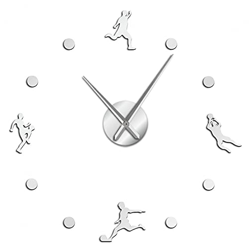 YQMJLF Reloj Pared DIY 3D Grande Fútbol 3D Manos largas DIY Reloj de Pared Rugby Deporte Pared Arte decoración Reloj Regalo para él Pegatinas acrílicas para Sala de Estar Salon Decor casa Plata