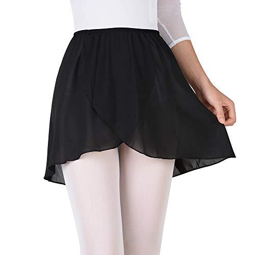 Bezioner Girls Ballet/Dance Wrap Skirt Chiffon Ballet Skirt Women Pull on Elastic Waist Black M