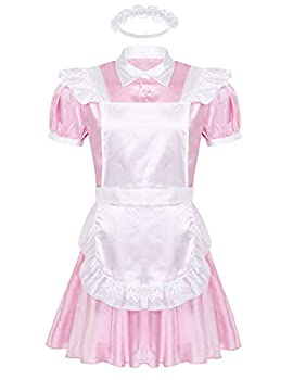 inhzoy Men s Shiny Satin Cosplay Outfits Short Sleeve Sissy Maid Dress with Apron and Headband Pink X-Large