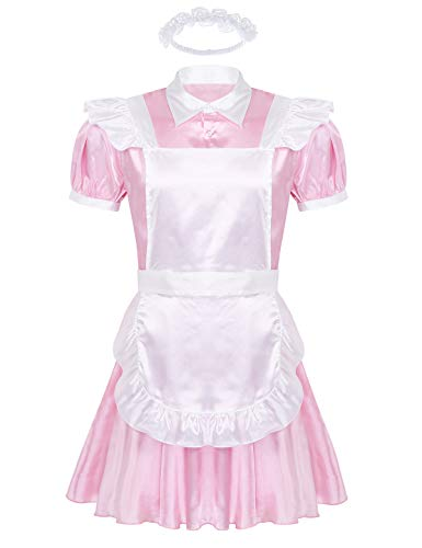 CHICTRY Dienstmädchen Kostüm Männer Sissy Dessous Maid Kostüm Set Satin Lolita Kleid & Schürze & Stirnband Drag Queen Travestie Rosa Medium