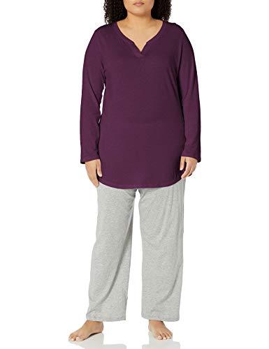 Just My Size Women's Plus Size Split Neck Tunic, Plum Port, 4X