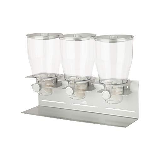 Zevro PROZ - Dispensador triple de comida en seco (acero con revestimiento de polvo), color plateado y transparente